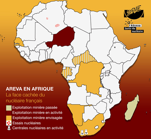 AREVA en Afrique, Carte réalisée par le Réseau Sortir du Nucléaire et SURVIE